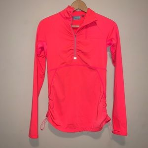 Athleta | Pink Ruched Half Zip Athletic Pullover